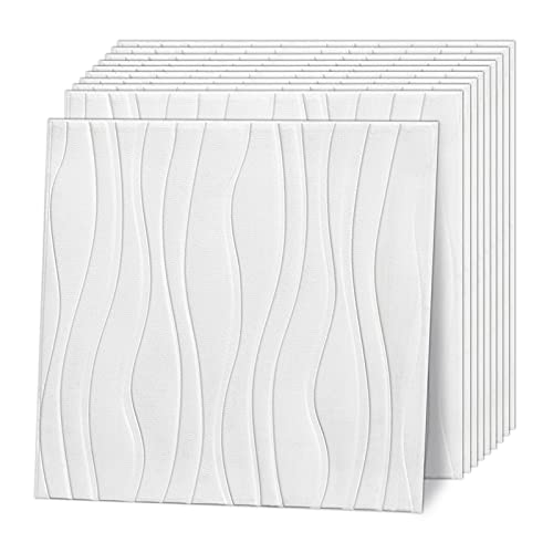 Wasait 3D Wall Panels Peel and Stick Wave 57.5 Sq. Ft Large Faux Brick Wallpaper Self Adhesive Wall Panel for Interior Wall Decor Panels Living Room Bedroom Decorative Wall Panel, White Grey Black
