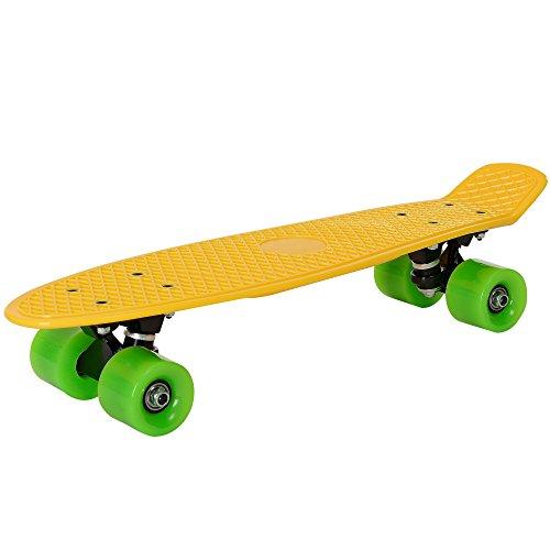 [pro.tec] Skateboard Mini Cruiser Board in Gelb-Grün für Kinder ab 5 und 6 Jahre/Retro Design (57 x 15 x 12cm) - Pennyboard für Kids und Anfänger mit ABEC 7 Kugellager