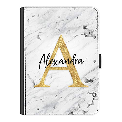 Personalised Initial Case For Apple iPad 6 (2018) 9.7 inch (6th generation), Grey & White Marble Print with Yellow Initial & Black Name, 360 Swivel Leather Side Flip Folio Cover, Marble Ipad Case