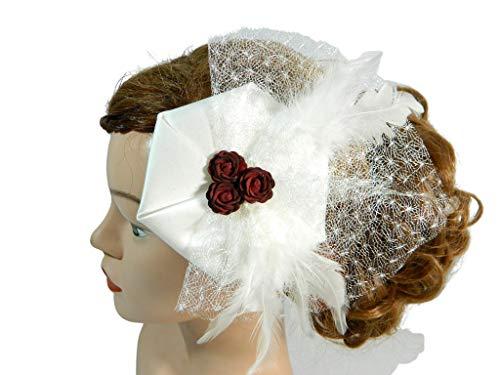 Braut Fascinator Haarschmuck Ivory rot Rosen Brautschmuck Brauthut Gesteck Hochsteckfrisur