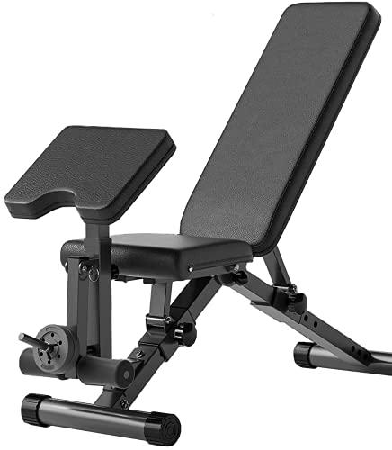 Taburete con Mancuernas Multifuncional, Banco de Musculación Multifunción Plegable y Ajustable Negro (Modelo L). 🔥