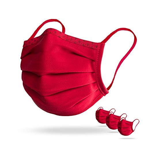 Isko Vital Supreme Gesichtsschutz in Rot – Waschbarer Mundschutz mit Nasenbügel aus Bio-Baumwolle – Für Damen und Herren – 3 einzeln verpackte Masken in der Größe L
