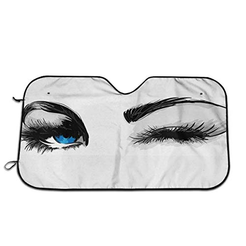 Tridge Foldable Car Sun Shade for Windshield EBeautiful Womans Sexy Eye with Eyebrows Eyelashes Blue Eyeball Open Looking C