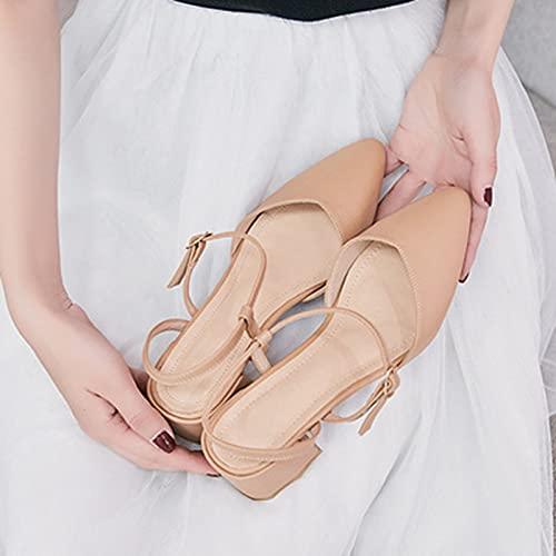 Zapatos Casuales para Mujer, Zapatos Individuales Huecos Franceses Sandalias con Puntera De Tacón Grueso Cómodas Transpirables Antideslizantes Resistentes Al Desgaste,Marrón,39