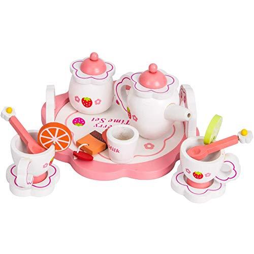 LIGHTZHAO Juego de madera de los niños de la fiesta de té de fingir bebé de madera conjunto de té de juguete herramienta de cocina vajilla juguete chica tarde té papel