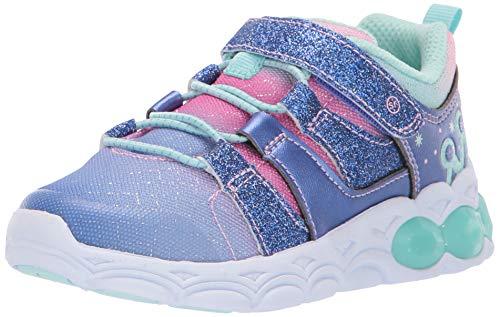 Stride Rite Girl's Katie Light-Up Mesh Athletic Sneaker, Aqua, 12 M US Little Kid