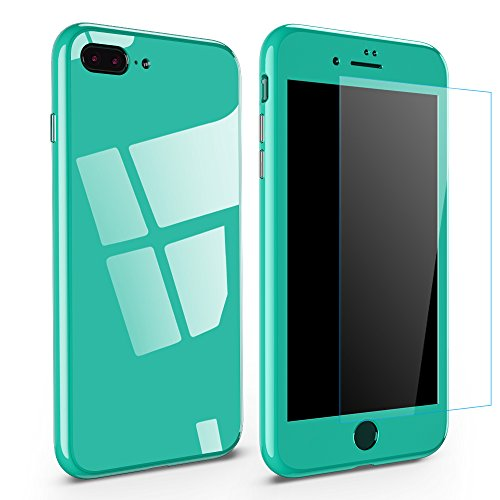 Caler Funda Compatible para iPhone 7 Plus Metal Marco Adsorción Magnético+[Protector de Pantalla] 360 Grados 3 en 1 Premium Antigolpes Anti-arañazos Bumper Tapa Protector Dura Cubierta (Verde)