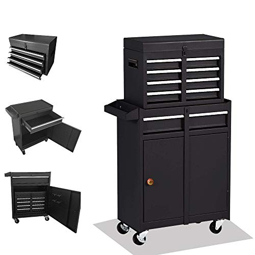 Rolling Tool Chest,Tool Cabinet with 4 Wheels,Tool Chest with 5 Drawers,Large Capacity Removable Toolbox with Lock for Garage, Christmas Gift (Black)