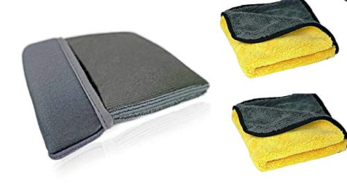 Clay Bar Mitt Kit: 1 Mitt + 2 840 GSM Microfiber Towels