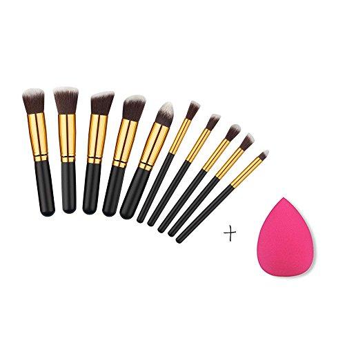 RY@ Brosse à maquillage, 10 pièces Brosse à maquillage, 10 pièces Fondation professionnelle Blending Blush Brosse à maquillage pour les yeux et 1 pièce Pink Beauty Sponge Blender avec sac