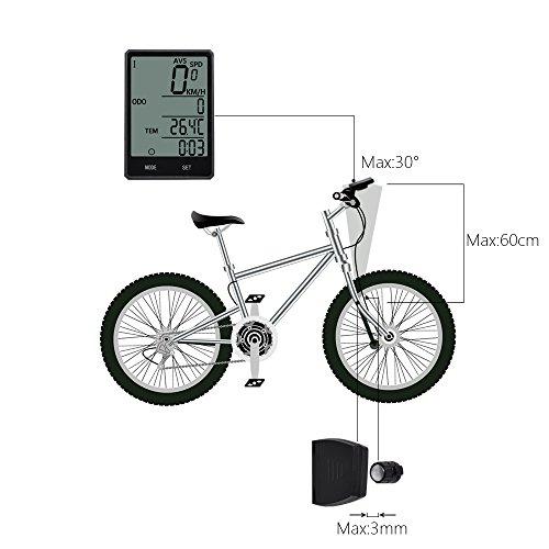 Wireless-Computer-Fahrrad, Fahrrad-Tachometer, Radfahren Kilometerzähler, Multifunktion mit extra großen LCD-Hintergrundbeleuchtung Display wasserdicht - 6