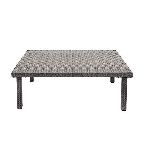 Mendler Poly-Rattan Couchtisch HWC-G16, Gartentisch Balkontisch Loungetisch, Gastronomie 80x50cm ~ grau