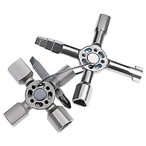 Llave de servicio de 10 vías, llave de fontanero universal 10 en 1, triángulo para medidor eléctrico de gas, válvula de medidor de agua