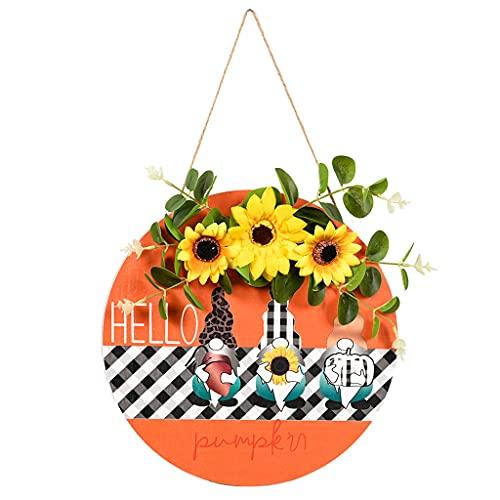 Placa de madera para colgar en la pared, diseño de gnomo de girasol, para decoración de puerta delantera de la casa de campo, porche, patio, placa para colgar en la pared