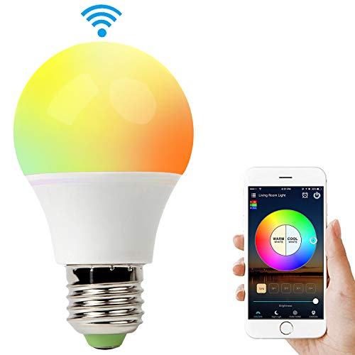 Smart Light Bulb Compatible with Alexa, RGB 60W WiFi Bulb Compatible with Amazon Echo and Google Assistant. Multicolor, Dimmable, No Hub Required, Widget, IFTTT and Siri Shortcut