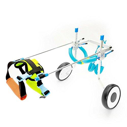 RUNGAO - Silla de ruedas ajustable para perro, rehabilitación de patas traseras para discapacitados, 2 ruedas, azul, XS-Weight:8-22lbs,Hip Height:7.5'-13.8'