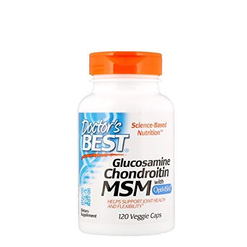 Doctor\'s Best, Glucosamine Chondroitin MSM mit OptiMSM, gentechnikfrei, glutenfrei, sojafrei, 120 vegane Kapseln