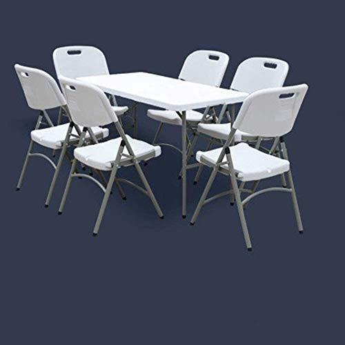 YYhkeby Pieghevole Picnic Picnic Table Altezza Regolabile Home Tavolo da Pranzo Piccolo Tavolo da Campeggio Tavolo da Pranzo Leggero Portatile da Pranzo Portatile Jialele (Size : White+6 Stool)