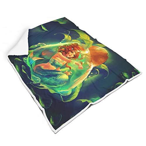 kikomia Unterwasser Meerjungfrau Mädchen Grün Blätter Druck Warm Plüsch Decke Chic Haus Dekor Decke Rucksackreisen Erwachsene&Kleinkind White 130x150cm