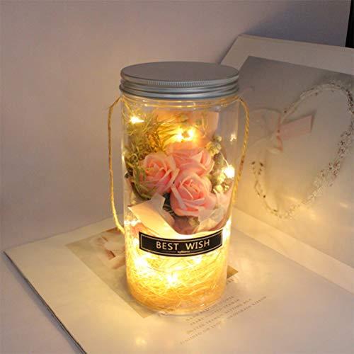 Fansheng - Bottiglia di vetro con rose e fiori romantici e conservati