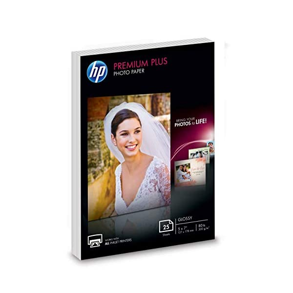 HP Premium Plus Photo Paper | Glossy | 5×7 | 25 Sheets (4WN04A)