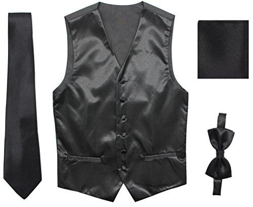 JAIFEI Satin Men Wedding Vest – Set with Neck Tie, Bow Tie & Handkerchief (S(Chest 36), Black)
