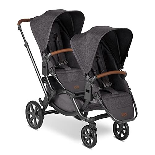 ABC Design Geschwisterkinderwagen Zoom – Zwillings- und Geschwisterwagen für Neugeborene & Babys – 2 Kinder - inkl. 2x Buggy Sportsitz – Radfederung – Farbe: street
