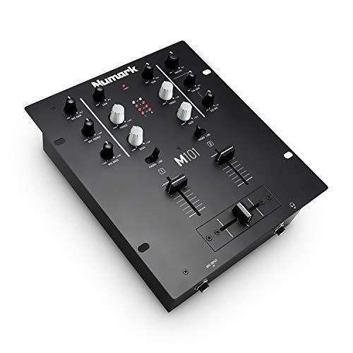 Numark M101 - 2-Kanal DJ-Mixer, Rack-montierbar mit 2-Band EQ, Mikrofoneingang und austauschbarem Crossfader