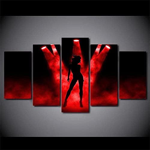 MPPSU Rockbühne Mit Rotem Scheinwerfer Wanddekoration Wohnzimmer Leinwandbild Jugendzimmer Poster Set Modern 5 Teiliges Wandbild Bedroom Decor XXL Bilder Mit Rahmen 150 * 80cm