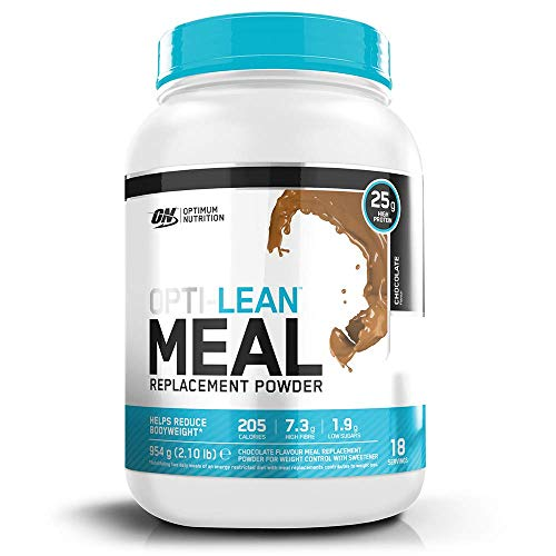 Optimum Nutrition Opti-Lean Meal Replacement Protein Powder with Vitamin A, Vitamin D, Vitamin C and High Fibre. Low Sugar Meal Replacement Drink by ON - Chocolate, 18 Servings, 954g