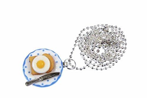 Miniblings Toast mit Spiegelei auf Teller Halskette Frühstück Porzellan 80cm - Handmade Modeschmuck - Kugelkette versilbert