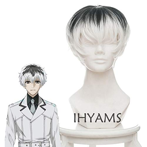 Anime Tokyo Ghoul Re Kaneki Ken Sasaki Haise Black White Mix Short Synthetic Hair Cosplay Costume Wigs + Wig Cap Tokyo Ghoul As The Picture