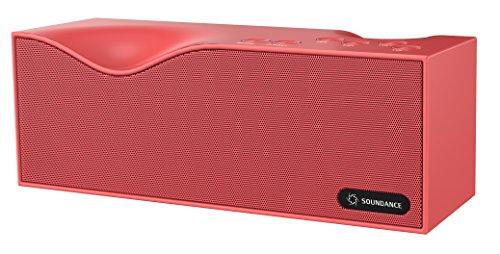 Altoparlanti Soundance Bluetooth con radio FM, microfono integrato, display a LED, supporto audio da 3,5 mm Linea In, carta di TF/Micro SD Card & input USB, Modello B1 (rosso)