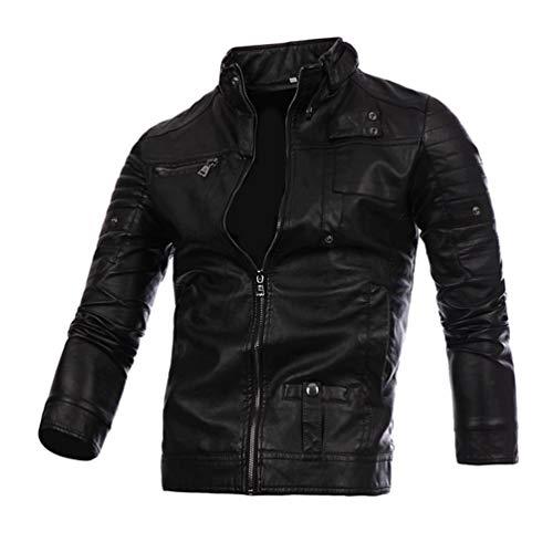 Tookang Hombres Chaqueta de Motorista PU Cuero Transición Moda Casuales Jacket Estilo Clásico Biker