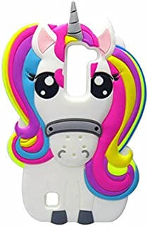 LG K10 Case,LG Premier LTE Case,Awin 3D Cute Cartoon Rainbow Unicorn Horse Animal Soft Silicone Rubber Case For LG K10/LG Premier LTE L62VL L61AL(Rainbow Unicorn)