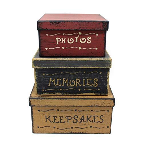 CVHOMEDECO. Primitiva Vintage Cuadrado Fotos, Recuerdos, Recuerdos Cajas apilables cartón, Grande 22,8 x 22,8 x H11,4 cm, Juego de 3