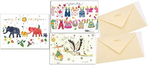 3 verschiedene Glückwunschkarten zur Geburt - hochwertige Umschlag-Karten von Turnowsky, Motiv: Klapperstorch, Babywäscheleine und Elefantenfamilie mit Baby