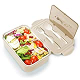 Bento Box for Adults, 1400ML Bento Lunch Containers for Kids with Spoon and Fork, Leakproof & Shockproof, Microwave Dishwasher Freezer Safe, BPA-Free and Food-Safe Material (Khaki)
