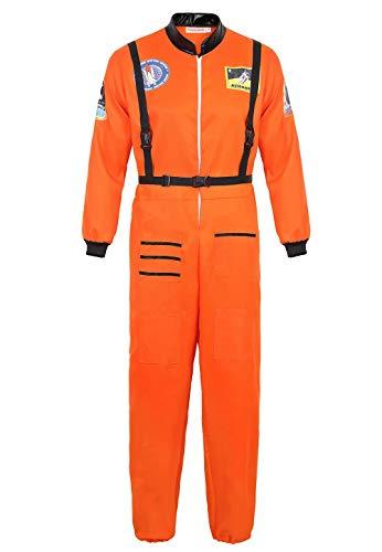 Josamogre Astronauten Kostüm Erwachsene Herren Kostüm Astronaut Weltraum Raumfahrer Halloween Cosplay Orange 3XL
