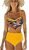 Bikinis Mujer Top con Volantes Braga de Color Liso Traje de Baño Cintura Alta Control de Barriga