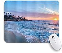 ECOMAOMI 可愛いマウスパッド オーシャンビーチサンセットブルースカイ 滑り止めゴムバッキングマウスパッドノートブックコンピュータマウスマット