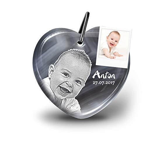 my-Pebbles: Edelstein als individueller Schlüsselanhänger mit Gravur als Geschenke zur Geburt & Taufe für die Eltern als Erinnerung & persönliche Glücksbringer | Heart 2 Go Botswana Achat
