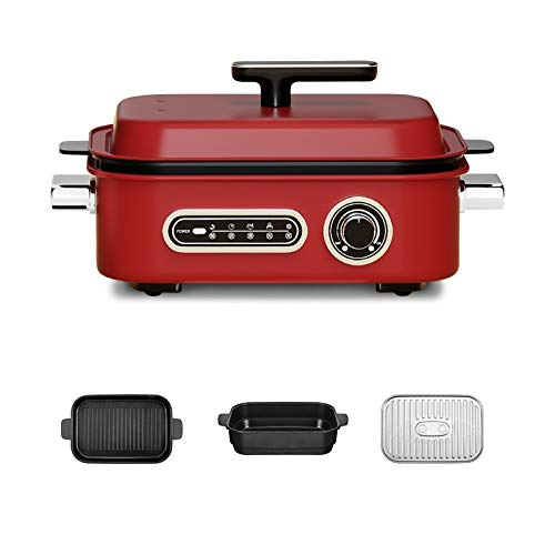 Cooking Pot Electric Baking Pot Hot Pot Barbecue Steamer Integrated Pot Household Non Stick Hot Barbecue Electric Grill Pan Multifunctional Smokeless Electric Grill Three in One Washable Grill Du