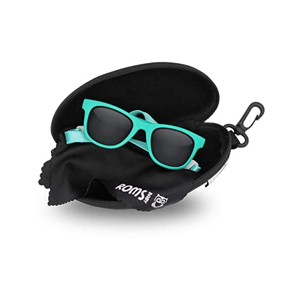 Baby Sunglasses with Strap – 400 UV Protection Polarized Lenses – Unisex Toddler/Kid. Shatterproof W/Soft Pouch and Hard Case – Ages 6 mos. to 3 years – Turquoise – FDA Approved