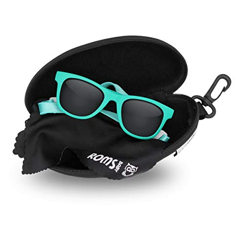 Baby Sunglasses with Strap - 400 UV Protection Polarized Lenses - Unisex Toddler/Kid. Shatterproof W/Soft Pouch and Hard Case - Ages 6 mos. to 3 years - Turquoise