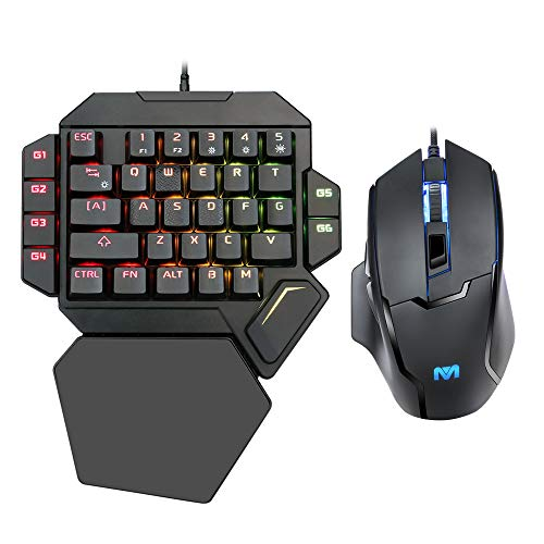 ZJFKSDYX K50 RGB eine Hand mechanische Spieltastatur und hinterleuchtete Maus Mouse Combo, Single Hand mechanische Tastatur mit Handstütze Unterstützung und Gaming-Maus