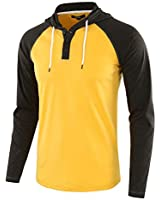 Estepoba Mens Casual Athletic Fit Lightweight Active Sports Jersey Shirt Hoodie A.Gold/H.Charcoal L