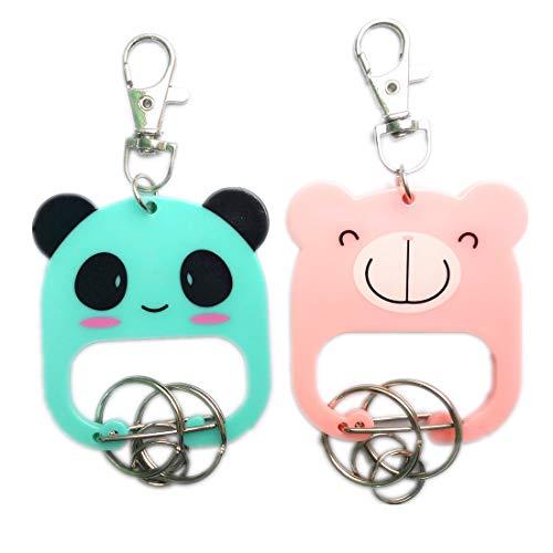 Cute Cartoon Animal Key Chain Ring Hook Tag Holder Panda and Bear Keychain