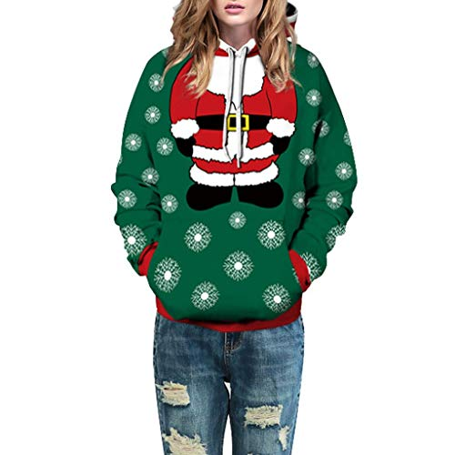 Dosoop Unisex Christmas Hoodies 3D Digital Print Santa Claus Reindeer Sweatshirt Pullover Long Sleeves Pocket Top Blouse