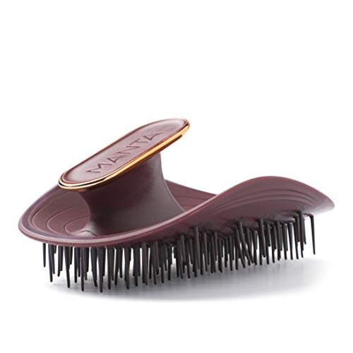 Manta Hair Cepillo para el Pelo, Color Burdeos, Cepillo para el Cabello Totalmente Flexible, Cepillo Suave que Ayuda a Prevenir la Rotura del Cabello, Granate